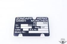 Typenschild 197X Motorschild Plakette für Zündapp Bergsteiger M25 M50 NEU *