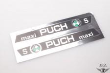 Aufkleber Satz Sticker Schwarz Chromfarben für Puch Maxi S Tank NEU *